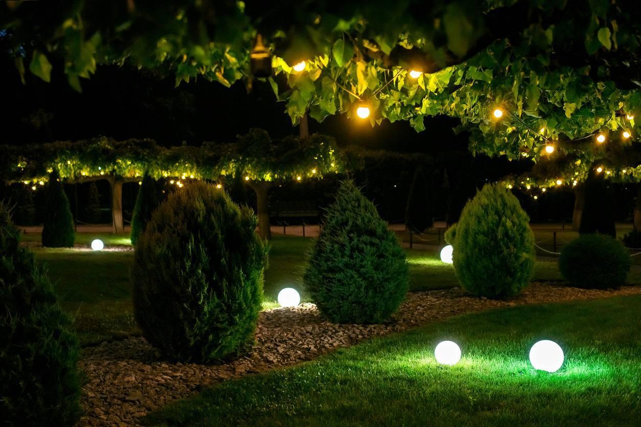 Lampes rondes jardin paysagiste